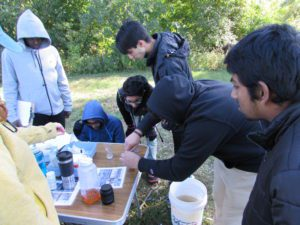 students analyze water samples outdoors