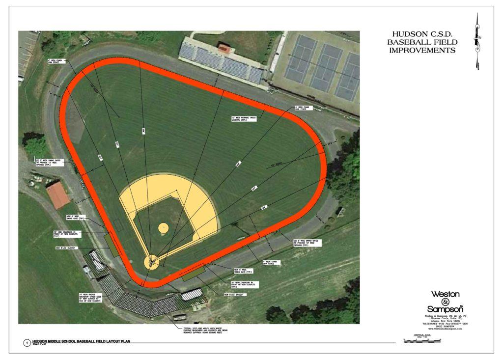 draft design schematic for baseball field rehabilitation