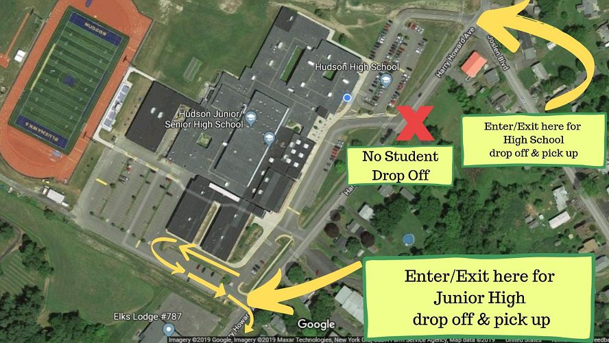 aerial view of student drop off areas
