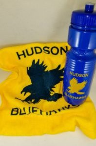 Hudson Bluehawks rally towel and water bottle