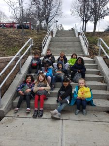 kids on outdoor stairs