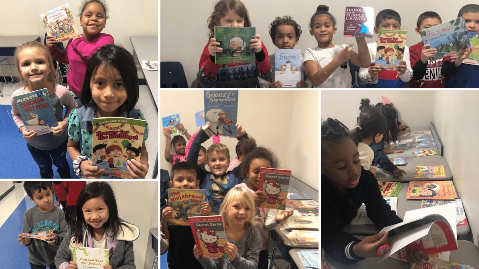 kids holding books photo grid