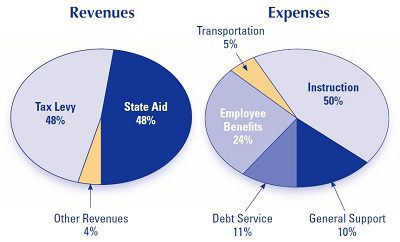 revenues and expenses pie charts