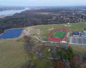 aerial view of solar array on high school campus