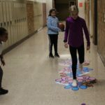 Hopscotch is one of the sensory path activities.