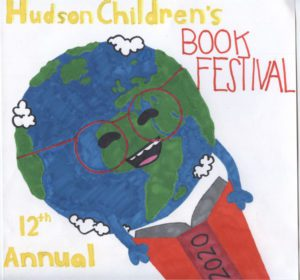 Hudson Children's Boko Festival logo of Earth reading a book