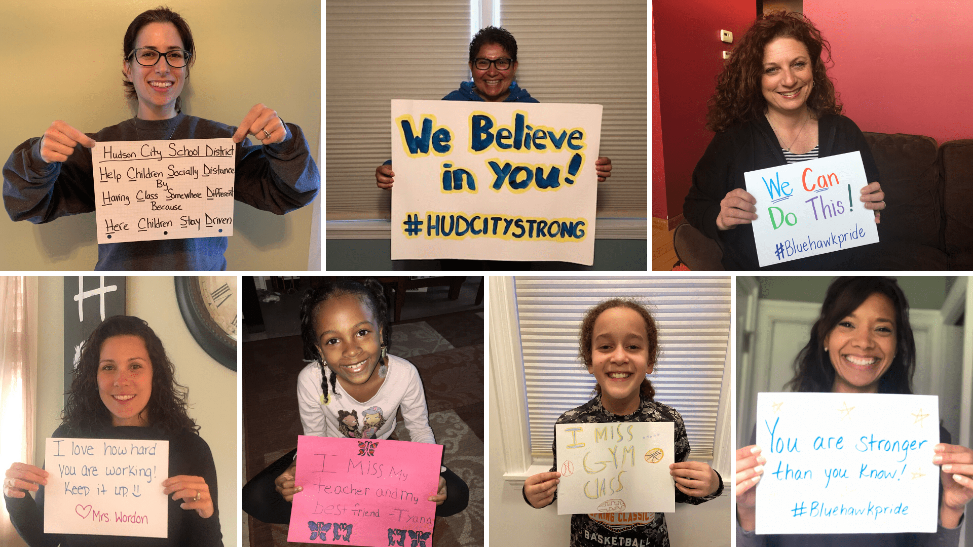 photo grid of teachers and students holding signs with messages