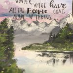haiku over mountain painting background
