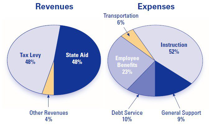 revenues and expenses pie graphs 2020-21