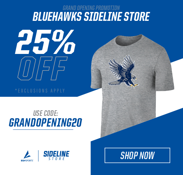shop Bluehawks gear 25% off