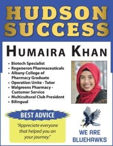 Hudson Success poster with alumni photo and list of accomplishments