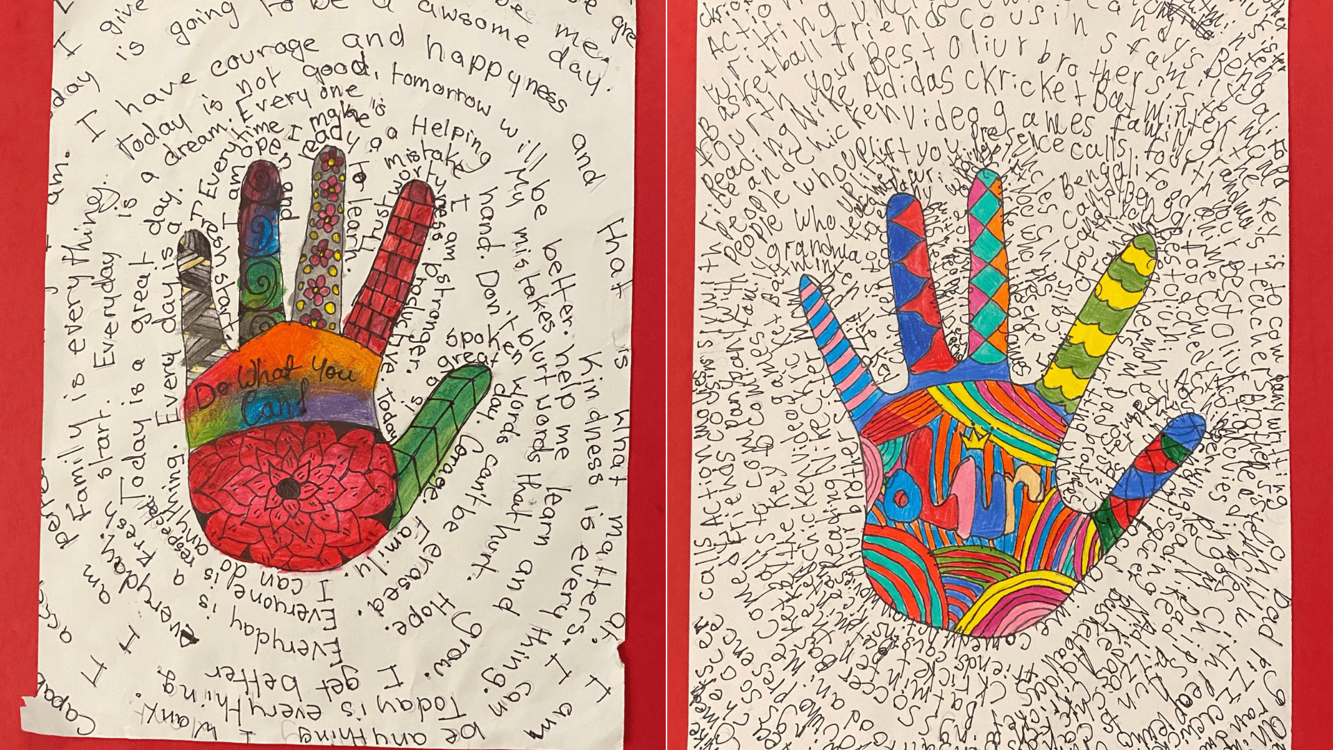 two colorful drawings of hands surrounded by written text