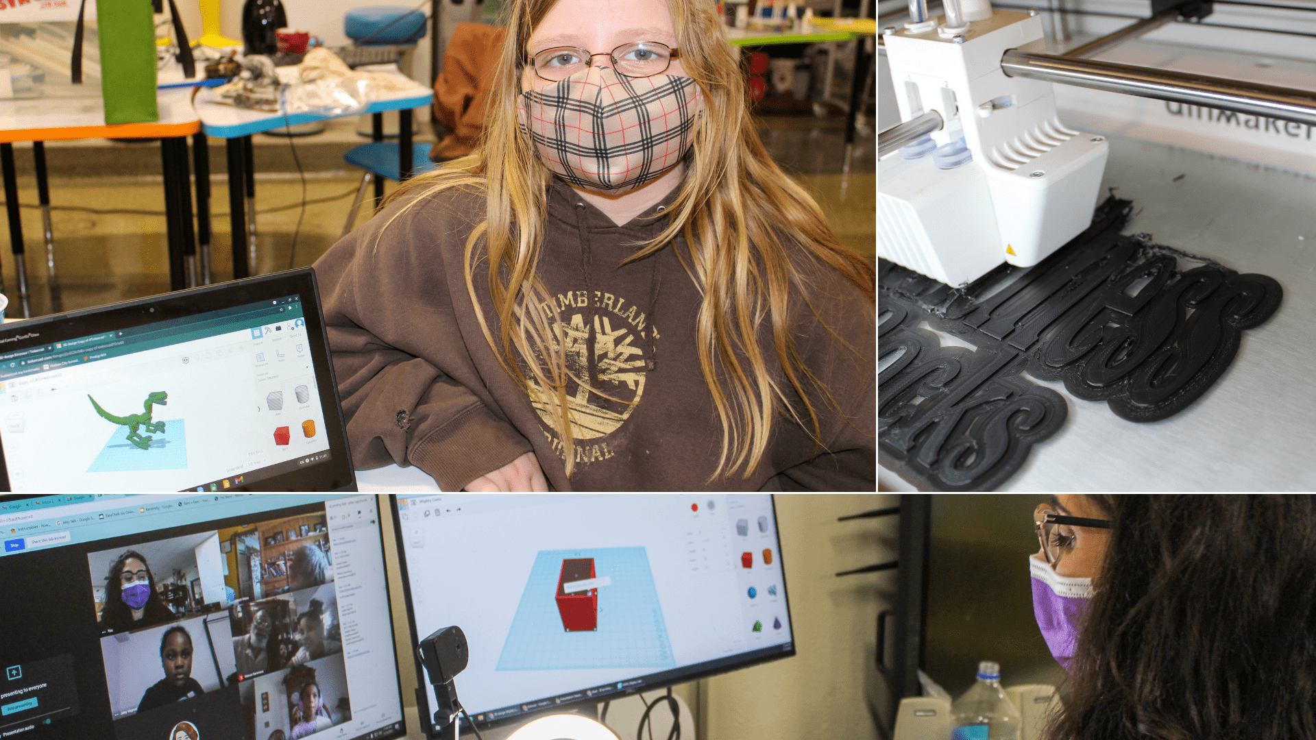 photo grid of teacher and students using online 3D design software