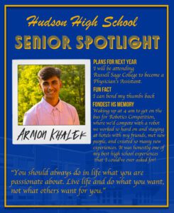 Armon Khalek senior spotlight. going to college to become a Physician's Assistant. going to college to become a Physician's Assistant going to college to become a Physician's Assistant. I can bend my thumbs back. Coming to school and seeing myself and my friends in our cultures clothing, it was a comforting feeling and made me proud of my culture.