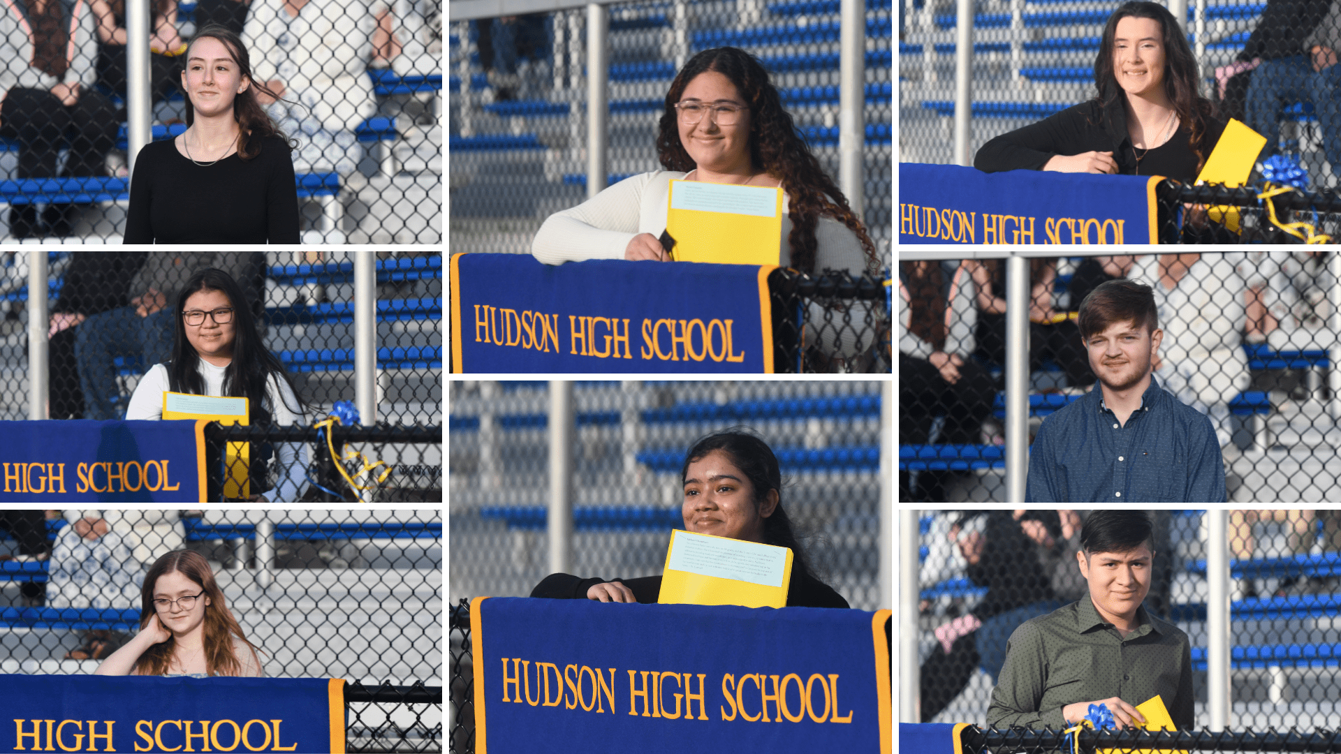 photo grid of eight honor society inductees standing in front of a fence and Hudson High School banner