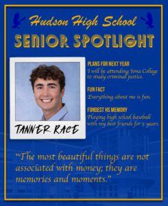 """Tanner Race senior spotlight. Attend Iona College and study criminal justice. Everything about me is fun. Playing high school baseball with my best friends for 5 years. """"The most beautiful things are not associated with money; they are memories and moments"""""""