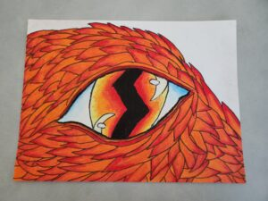 pastel drawing of a dragon eye