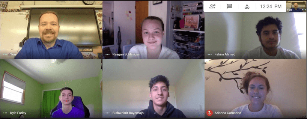 screenshot of Mr. McDarby and five students meeting virtually
