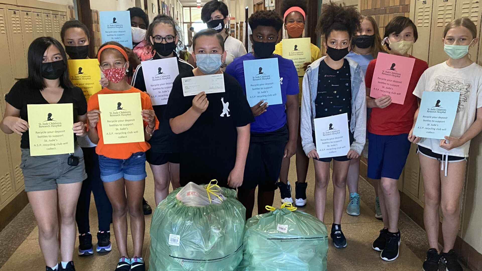 fifth grade student council donates $90 to St. Jude's after collecting cans and bottles