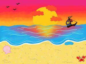 digital artwork depicting a beach scene