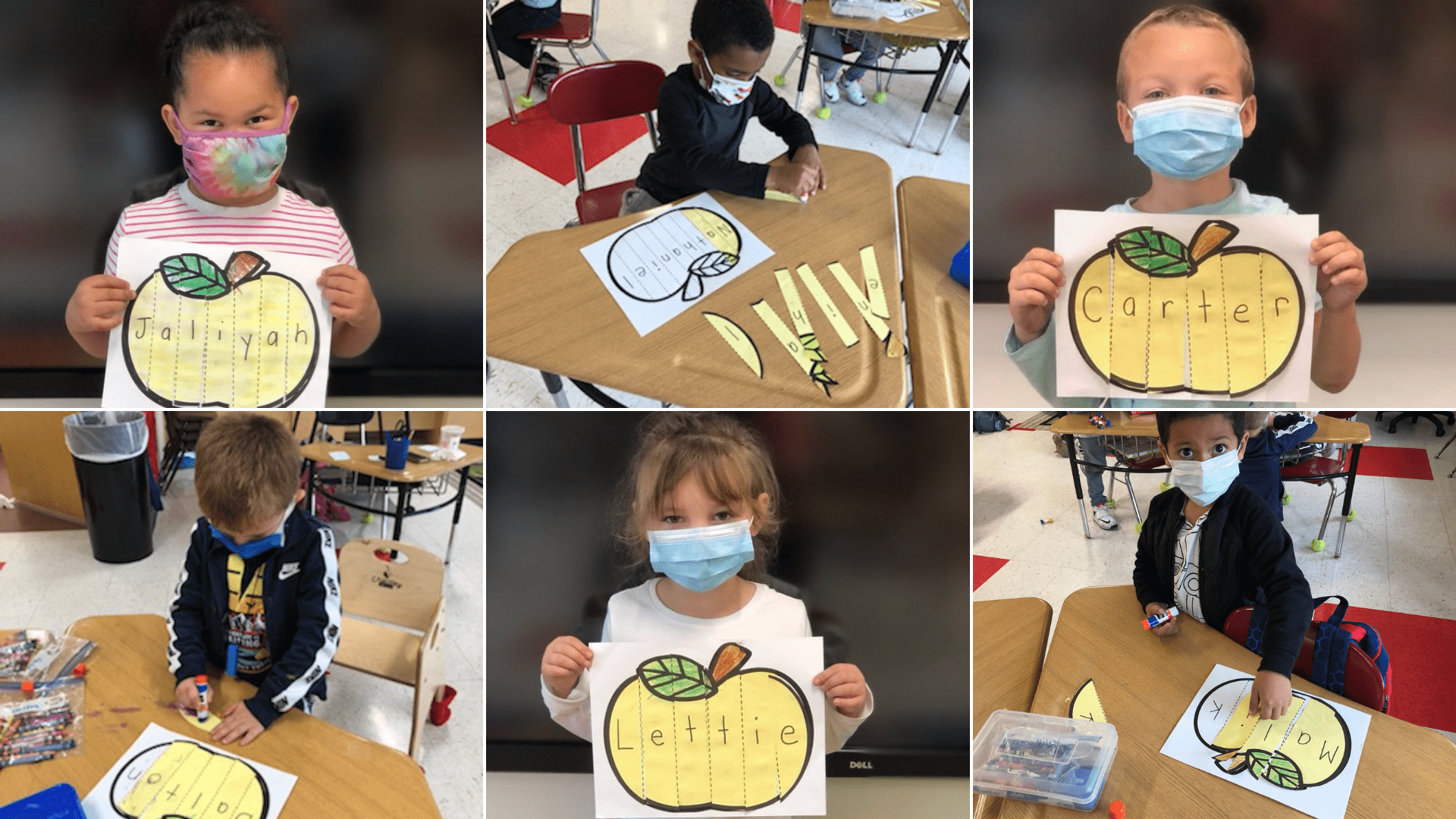 photo grid of kindergarten students gluing letters to spell their names