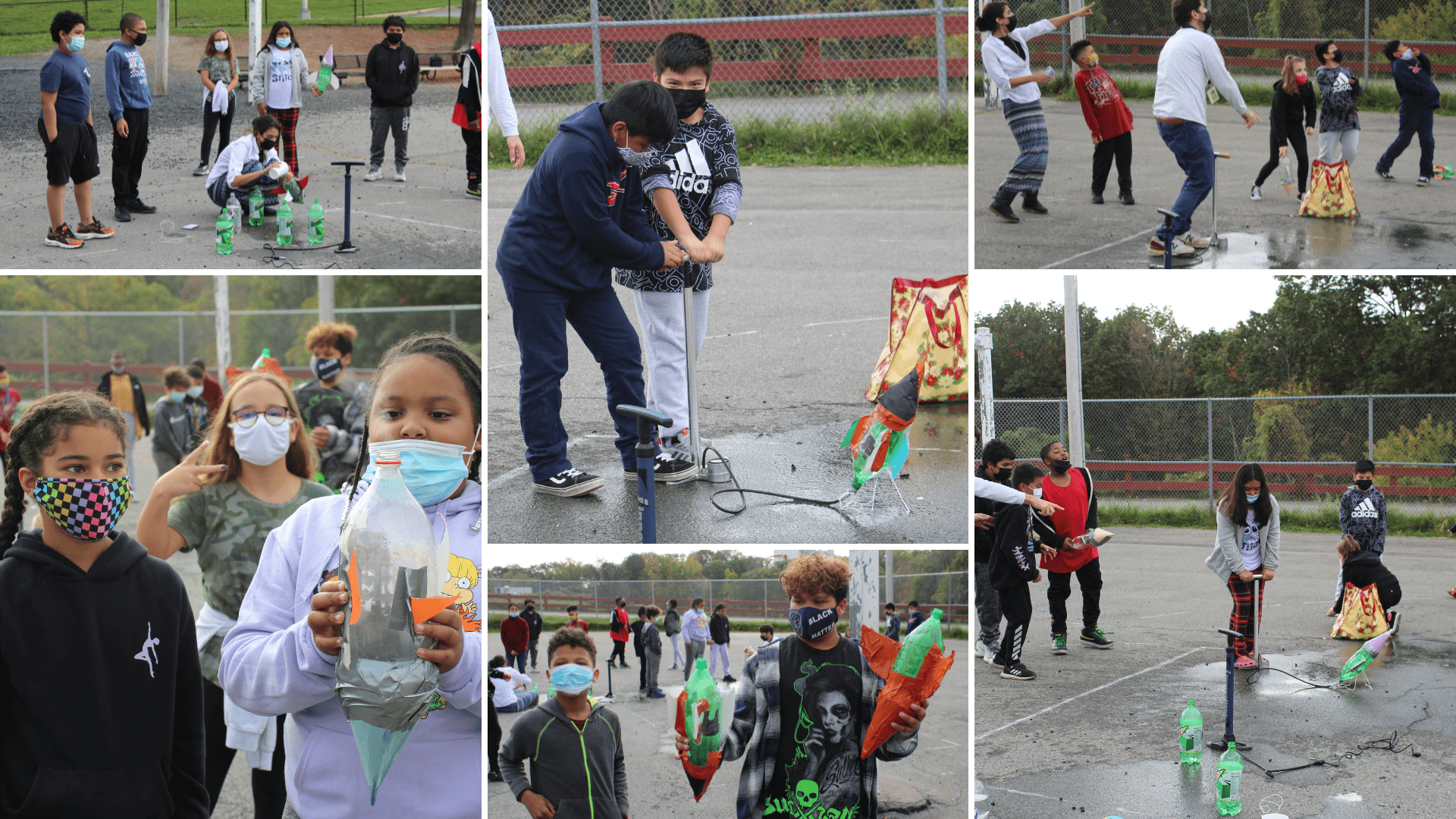 collage of fifth grade students on an outdoor basketball court using an air pump to launch soda bottle rockets